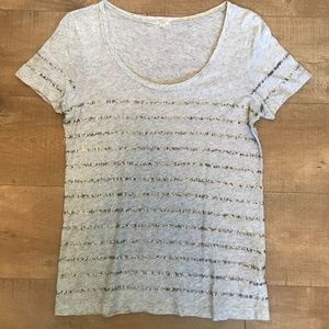 J. Crew scoop neck sequin stripe tshirt S